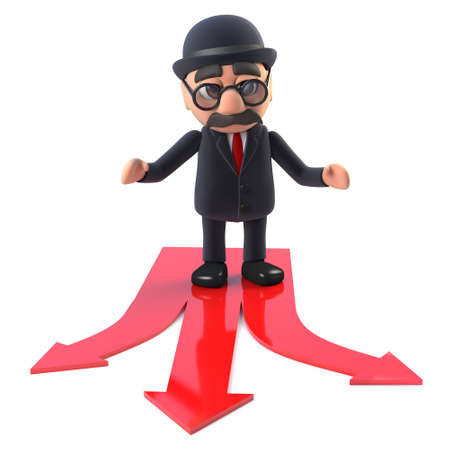 illustraion: 3d render of a bowler hatted British businessman standing on some red arrows. Stock Photo