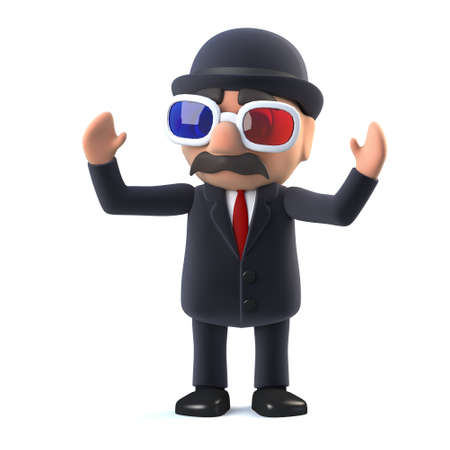 bowler: 3d render of a bowler hatted British businessman wearing 3d glasses. Stock Photo
