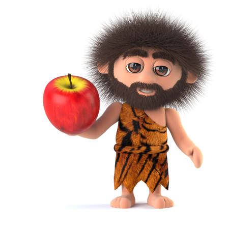 3d render of a funny savage caveman holding an apple