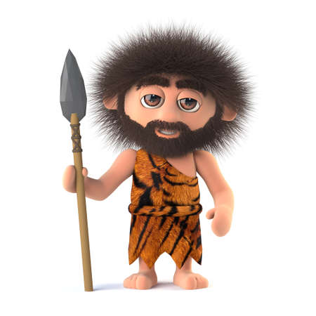3d render of a funny savage caveman holding a spear. Stock Photo