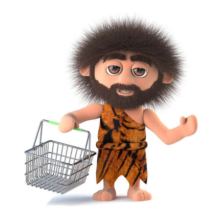 3d render of a funny savage caveman holding a shopping basket. Stock Photo