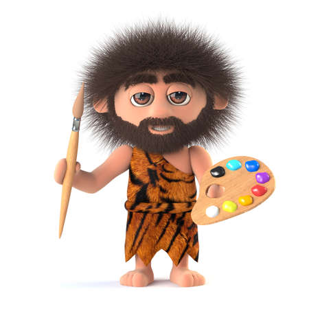 3d render of a funny savage caveman holding an artist paintbrush and palette