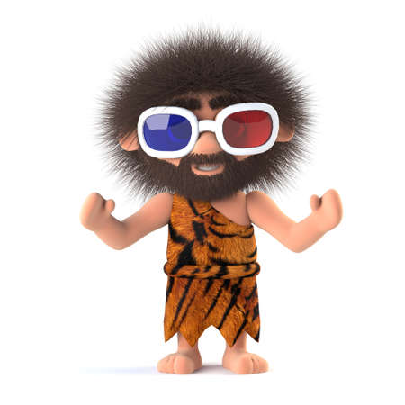 3d render of a funny savage caveman wearing 3d glasses.