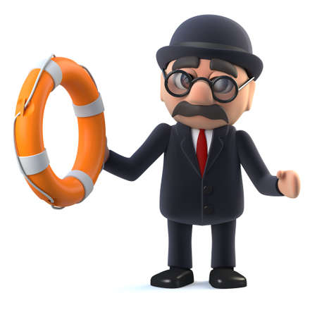 illustraion: 3d render of a bowler hatted British businessman holding a life ring.