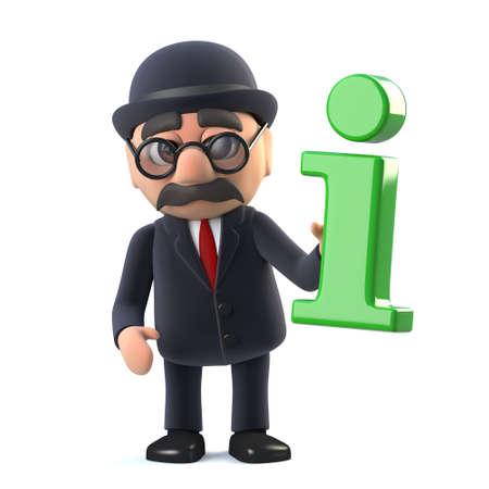 illustraion: 3d render of a bowler hatted British businessman holding a green information symbol.