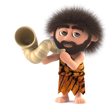 3d render of a funny caveman blowing through a horn. Stock Photo