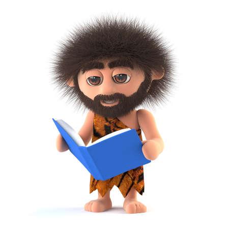 dork: 3d render of a funny caveman reading a book.