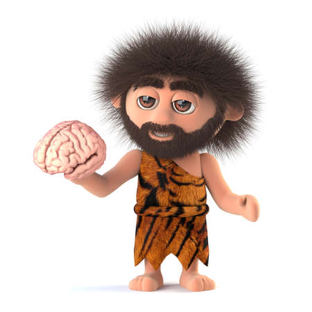 3d render of a funny caveman holding a human brain.