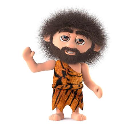 dork: 3d render of a funny caveman waving hello. Stock Photo