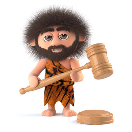 bumpkin: 3d render of a funny caveman holding an auctioneers gavel Stock Photo