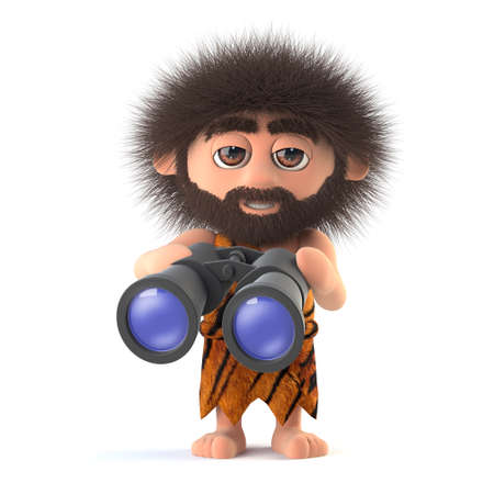 3d render of a funny caveman holding a pair of binoculars