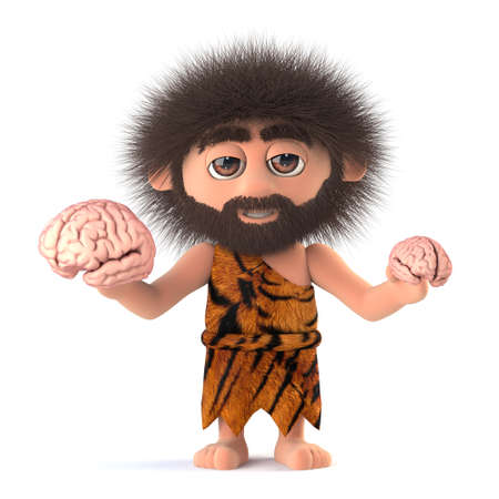 dork: 3d render of a funny caveman holding two different sized human brains.