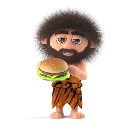 3d render of a funny caveman eating a cheese burger Stock Photo