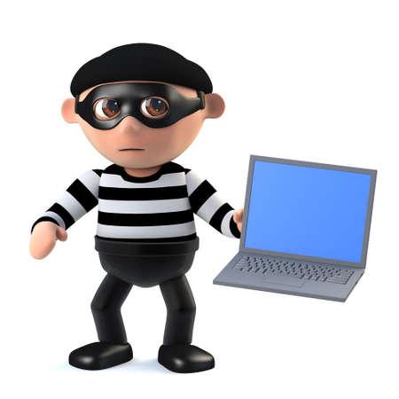 stalker: 3d render of a burglar holding a laptop pc.