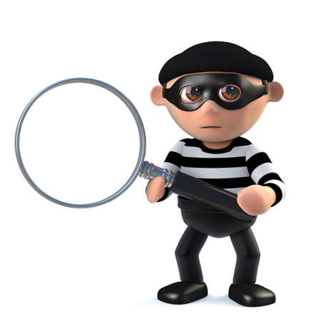 prowler: 3d render of a burglar holding a magnifying glass