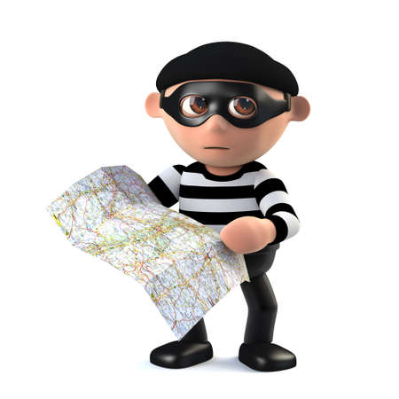 dishonest: 3d render of a burglar holding a map.