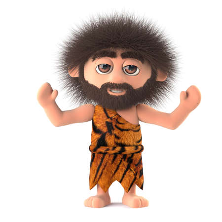 3d render of a crazy hairy caveman wearing animal skins and holding his arms in the air in a cheering gesture Stock Photo