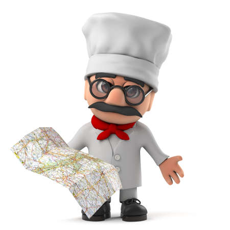 pizza chef: 3d render of a cute and funny cartoon Italian pizza chef character holding a map. Stock Photo