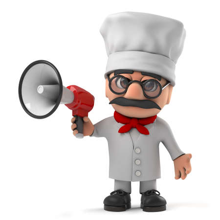 pizza chef: 3d render of a funny cartoon Italian pizza chef character holding a megaphone Stock Photo