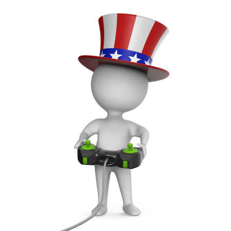 3d render of a cartoon Uncle Sam character in stars and stripes top hat playing a videogame using a handheld joystick controller. Stock Photo