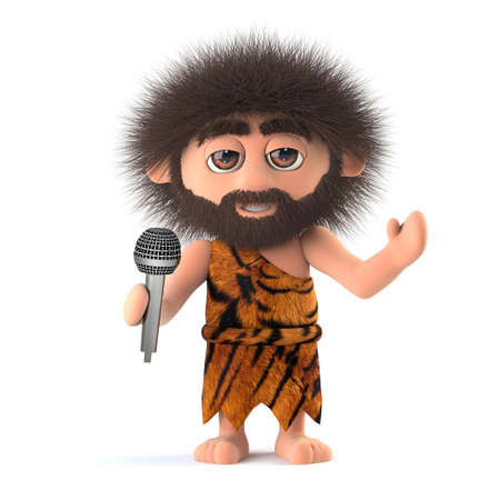 3d render of a funny cartoon primitive caveman character singing into a microphone Stock Photo