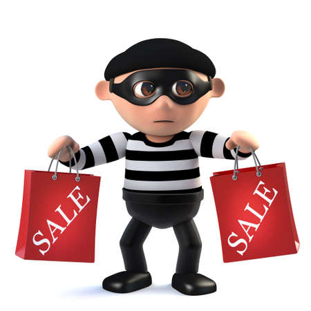 con: 3d render of a funny cartoon criminal burglar character holding two sale bags from the store. Stock Photo
