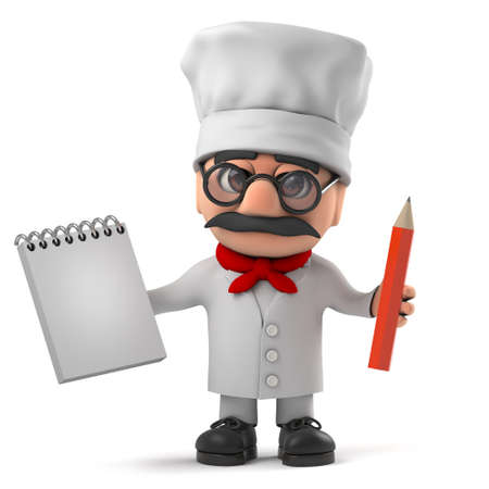 caterer: 3d render of a funny Italian pizza chef character holding a notepad and pencil