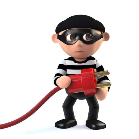 3d render of a funny cartoon criminal burglar character holding a power lead Stock Photo