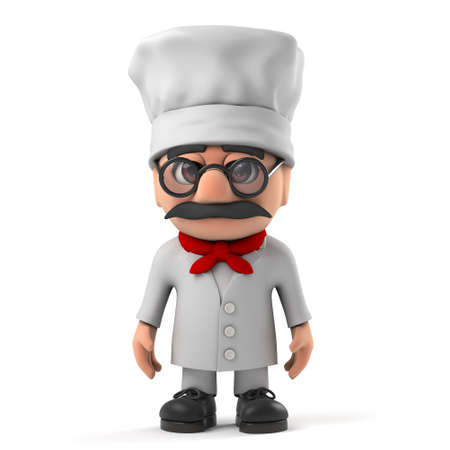 caterer: 3d render of a funny Italian pizza chef character.