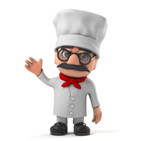 pizza chef: 3d render of a funny Italian pizza chef character waving hello
