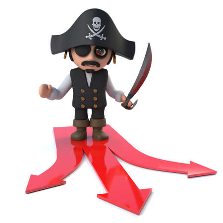 costume eye patch: 3d Funny cartoon pirate captain chooses the path