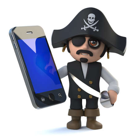 3d render of a funny pirate captain character holding a smartphone tablet pc device Stock Photo