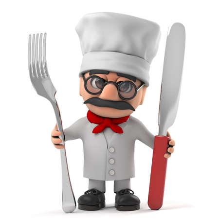 caterer: 3d render of a funny cartoon old Italian chef character holding a knife and fork