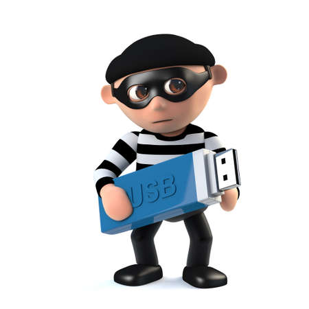 3d render of a funny cartoon burglar character holding a USB memory  stick.