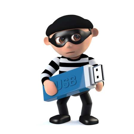 conman: 3d render of a funny cartoon burglar character holding a USB memory  stick.