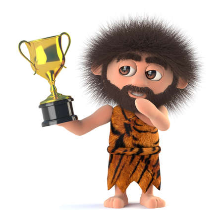 3d render of a funny cartoon primitive stoneage caveman character  holding a gold cup trophy award