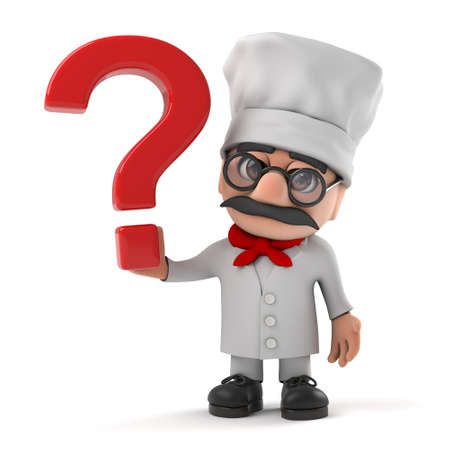 3d render of a funny cartoon Italian pizza chef character holding a question mark.