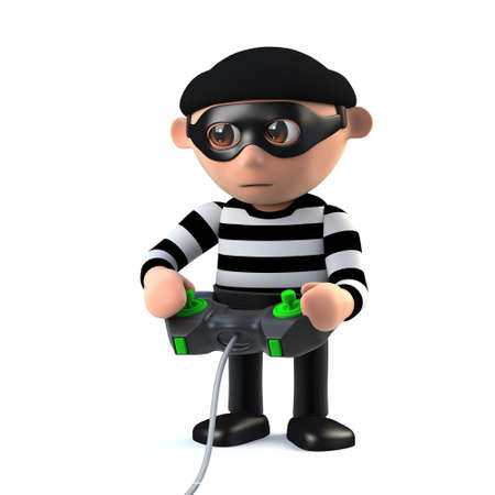 prowler: 3d render of a funny cartoon burglar character playing a videogame using a handheld console joystick controller. Stock Photo