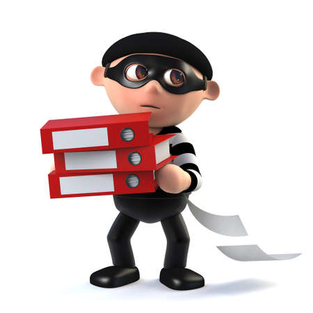 stalker: 3d render of a funny cartoon burglar character carrying stolen folders and documents