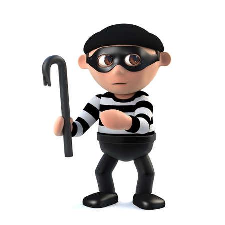 3d Funny cartoon burglar holding a crowbar