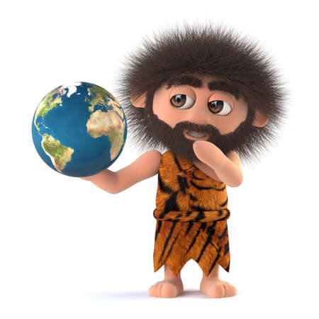 3d render of a funny cartoon stoneage caveman character holding a globe of the Earth