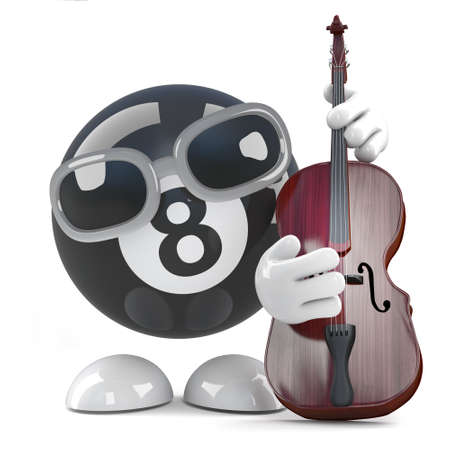 3d render of a funny cartoon 8 ball character playing a double bass