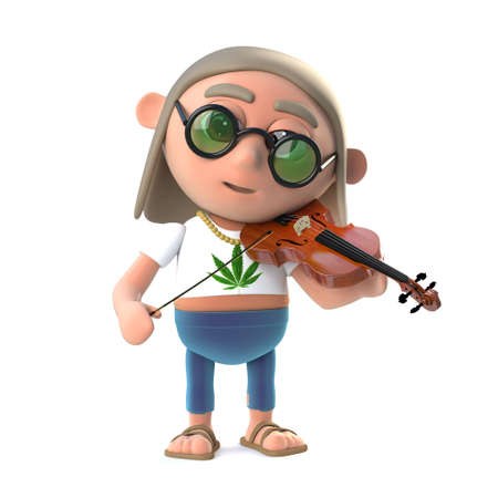 musically: 3d render of a funny cartoon hippy character playing musically on a violin Stock Photo