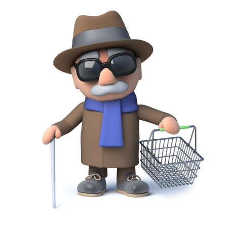 oap: 3d render of a cartoon blind man holding a shopping basket