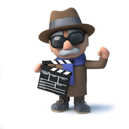oap: 3d render of a funny cartoon blind man character holding a movie makers clapperboard Stock Photo