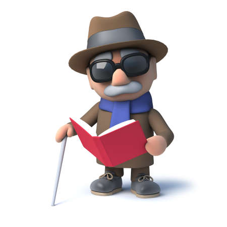 visually: 3d Cartoon old blind man reading a book