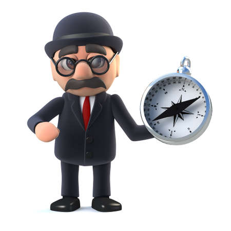 3d render of a bowler hatted British businessman holding a navigational magnetic compass