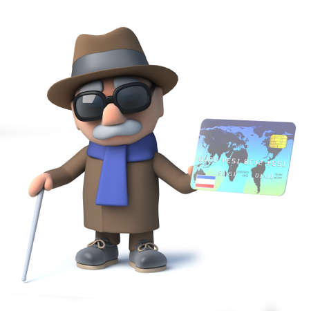 impaired: 3d render of a cartoon old blind man character holding a debit card Stock Photo