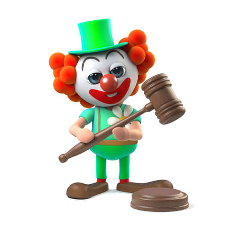 comedian: 3d render of a funny cartoon clown character holding an auctioneers gavel Stock Photo