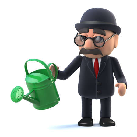 3d render of a bowler hatted British businessman holding a watering can, growing his business. Stock Photo
